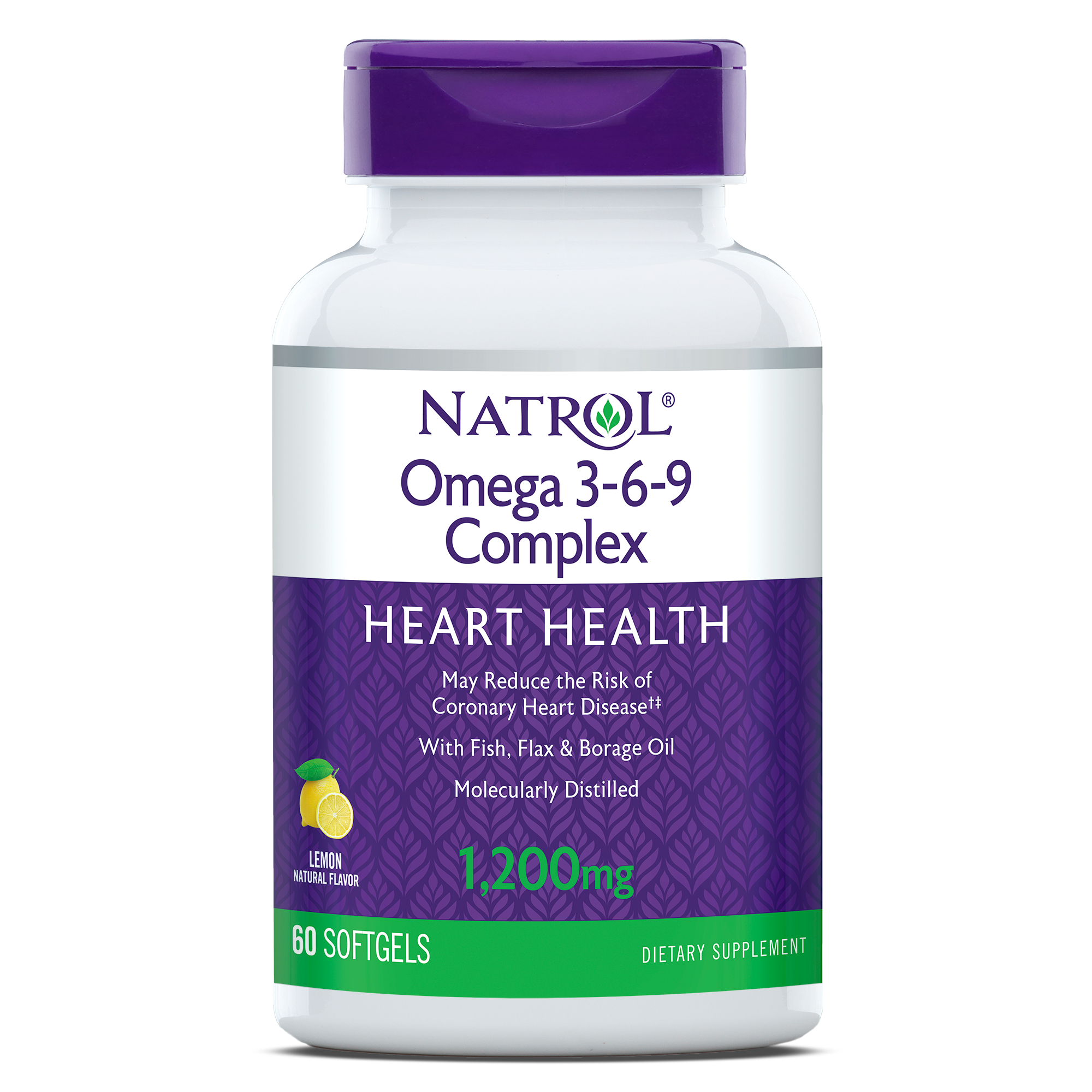 Natrol Omega 3 6 9 Complex Heart Health Lemon Softgels